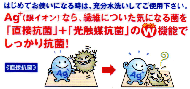 Ag+(銀イオン)除菌ふきん 裏面記載説明事項1