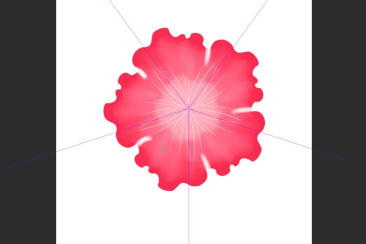 クリスタ Gペンを使ってハイビスカスの花の花脈描き方画面画像