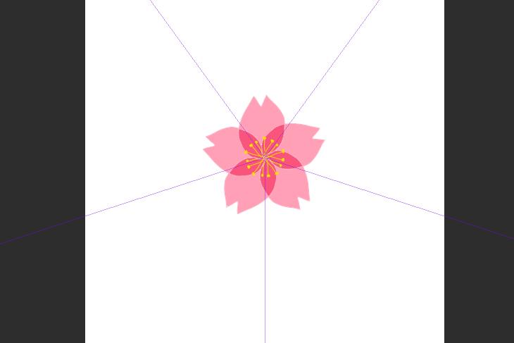 CLIP STUDIO PAINT PRO対象定規で描いた桜の花画像